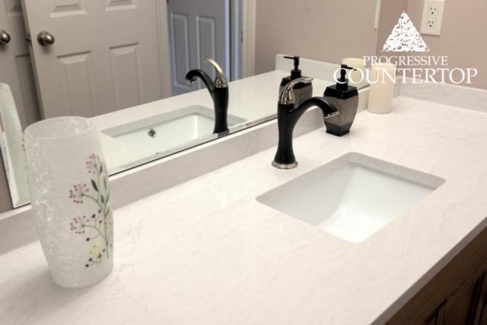 Cambria Delgatie White Quartz Bathroom Countertop