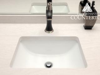 Cambria Delgatie White Quartz Bathroom Countertop Close Up of Sink