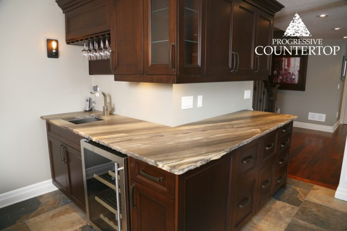 Sequoia Brown Leather Granite Basement Grey and Gold