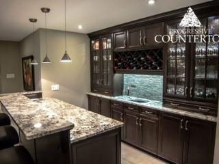 Alaska White Granite Bar Countertop Brown and Grey