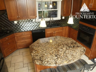 Coral Gold and Suede Brown granite Kitchen Countertop Grey and Gold