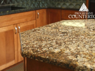 Coral Gold Granite Kitchen Countertop Gold and Brown
